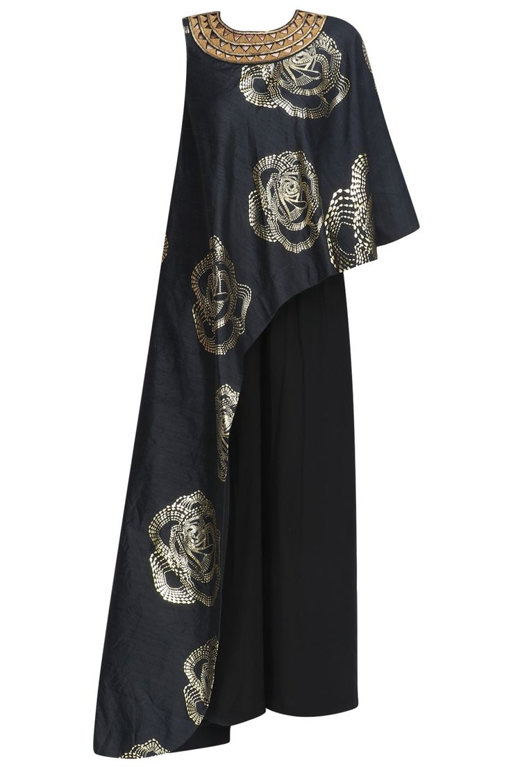 Black and gold foil print one shoulder tunic and pants set available only at Pernia's Pop Up Shop.