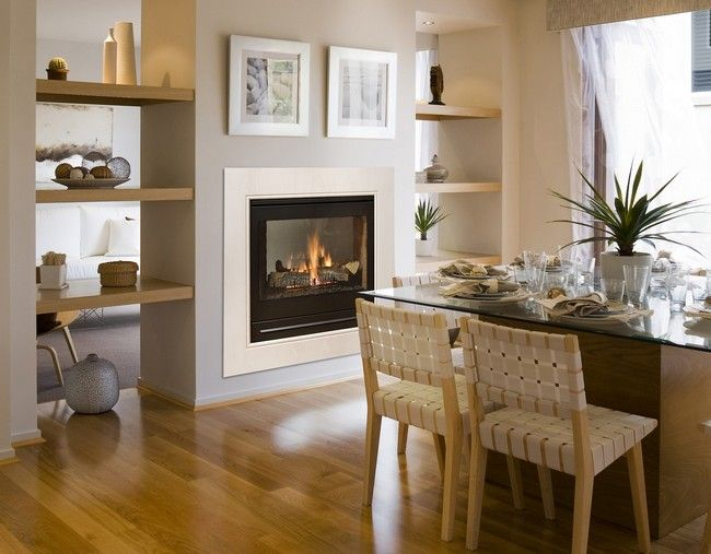 american style fireplace - Transform your Spacious Space with a Double-Sided Fireplace