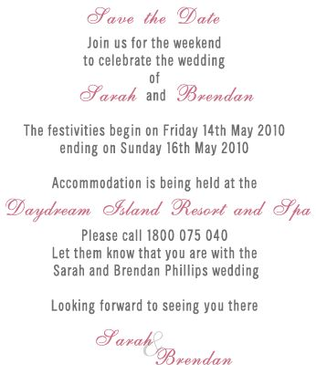Save the date wording in Australia
