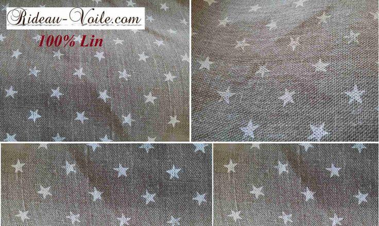 Lin linen curtain rideau drapes vorhang sur mesure deco textile immobilier design tissu textile naturel imprimé étoile blanche