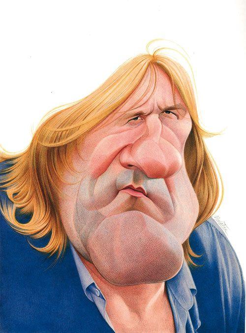 Caricatura de Gerard Depardieu...  Ilustración de Jean Mulatier