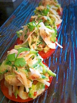 「ゴーヤでエスニックサラダ」夏らしいサラダ!食べやすくカナッペ風にしてみました。【楽天レシピ】
