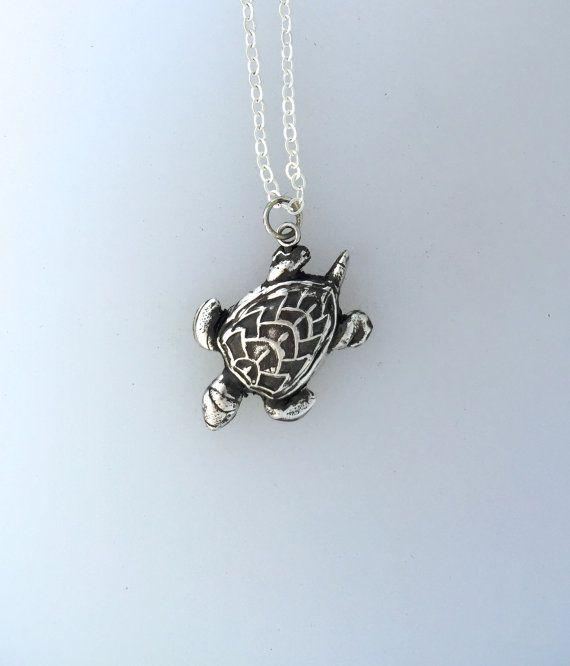 Happy Sea Turtle Metal Clay Necklace-Vegan by crobinsondesign