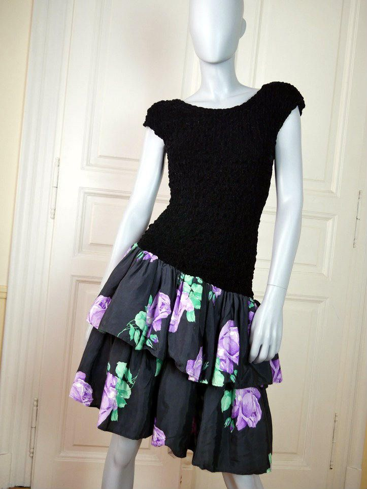 German Vintage Black Evening Dress, Black w Lavender Rose Vintage Prom Dress, Elegant Cocktail Dress, Party Dress: Size 10 US, Size 14 UK by YouLookAmazing on Etsy