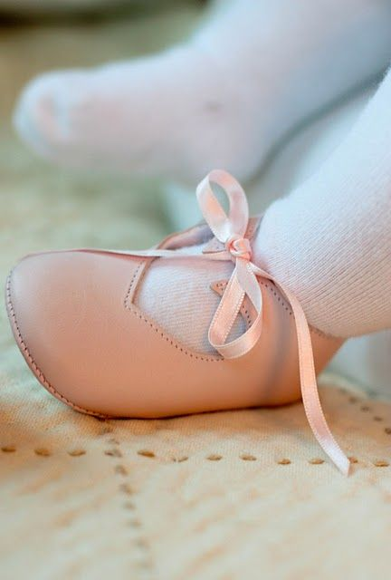 Honor had sweet little French shoes like this when she was a baby, but nothing can beat the booties you'll make!