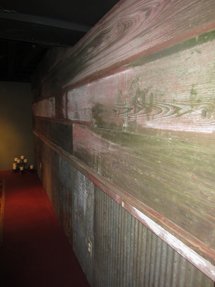 Beautiful barnwood and barn tin wall corrugated for Metal barn over basement