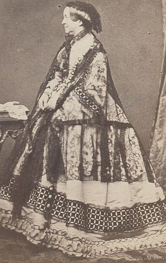 """Queen Amalia of Greece, as an elderly lady, on """"the retired list."""" Amalia of Oldenburg - Queen consort of Greece as the spouse of King Otto of Greece. On becoming politically involved she became the target of attacks and even an assassination attempt. In 1862 she and her husband were expelled from Greece."""
