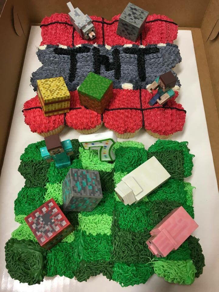 Minecraft TNT & Cjaracters Cupcake Cake | birthday ...