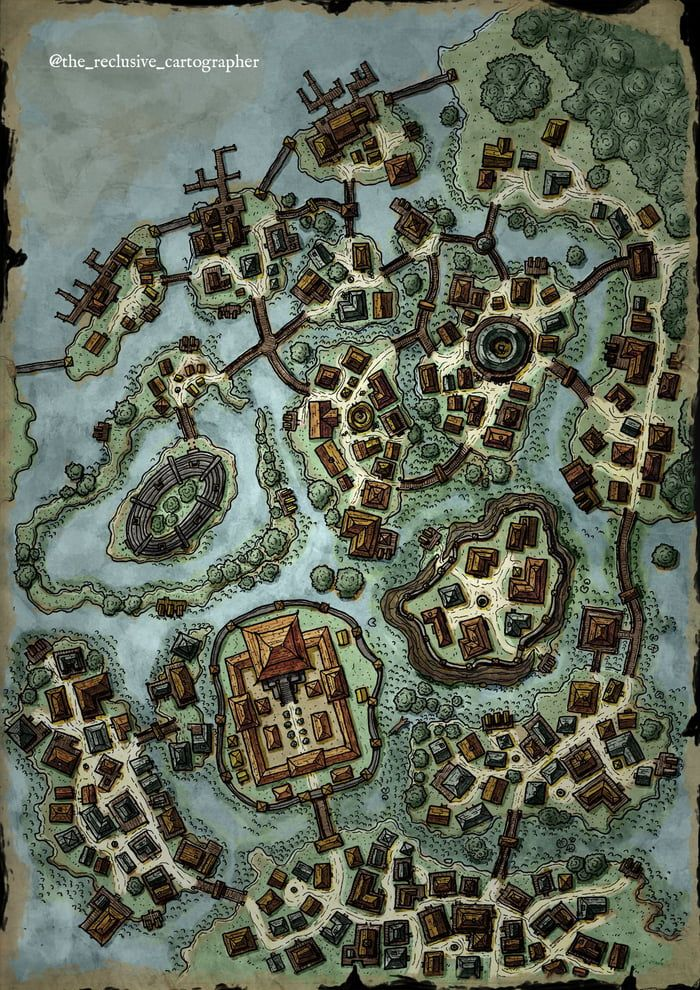 swamp map town dnd drawn hand fantasy classic coloured comments