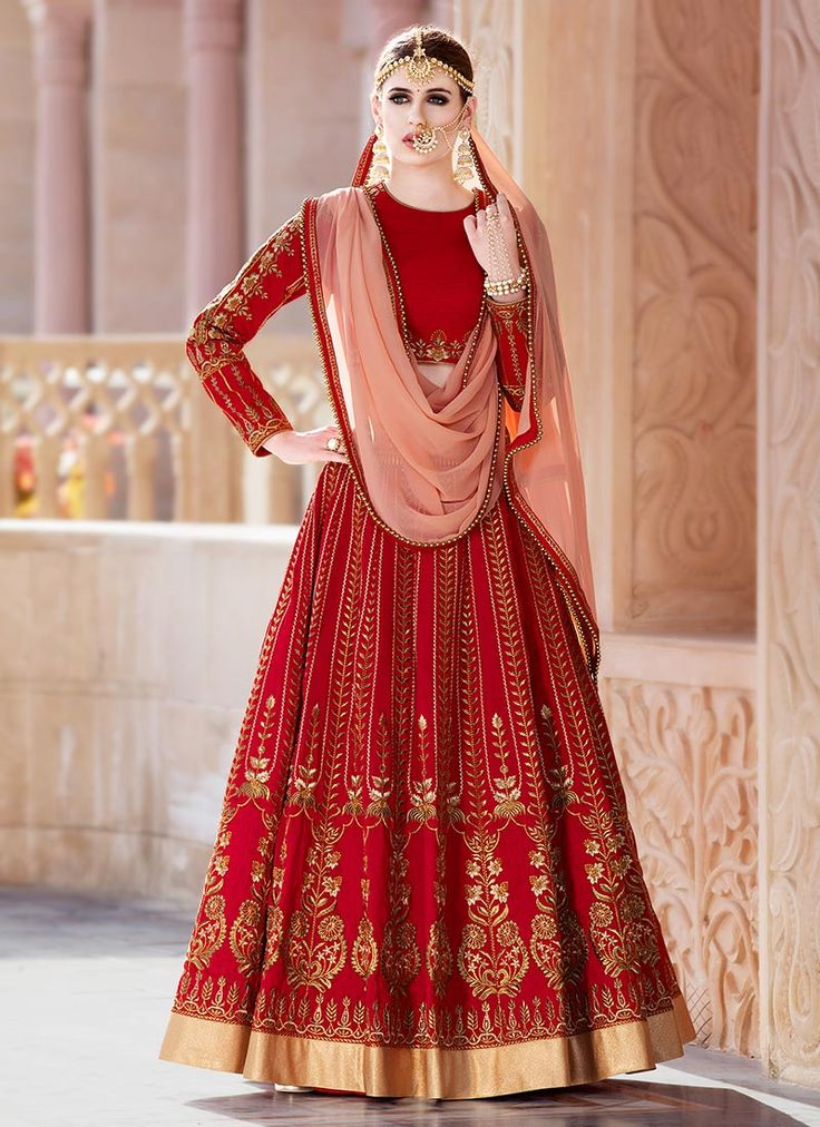 Buy Red Art Silk Umbrella Lehenga online, SKU Code: GHSVNT23. This Red color Wedding umbrella lehenga for Women comes with Embroidered Art Silk. Shop Now!