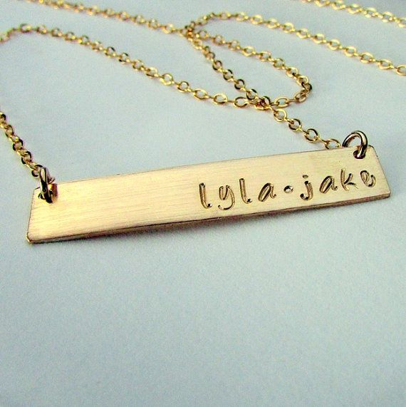 Gold bar necklace gold name plate engraved pendant - Brass name plate designs for home ...