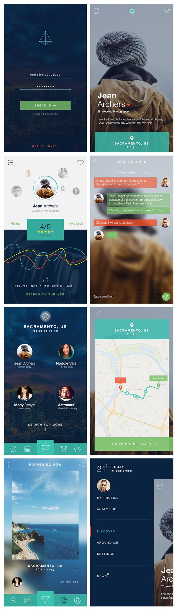 The freebie of the day is an UI kit that follows the latest design trends for apps: thin lines, large photos, transparent...