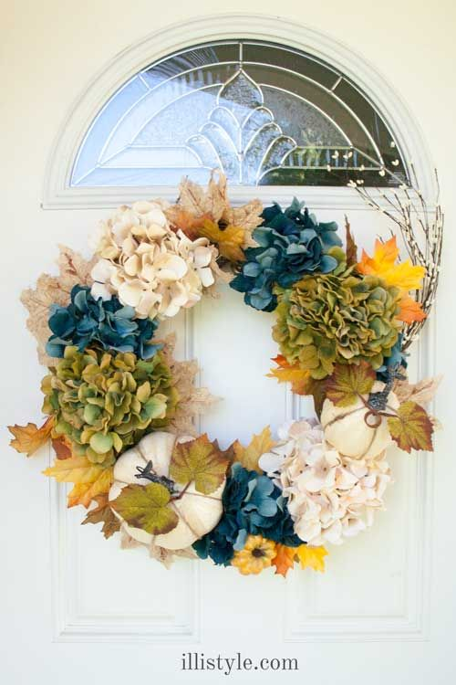 Fall is almost here! I love this wreath. The green and blue are not traditional fall colors, but it totally works.