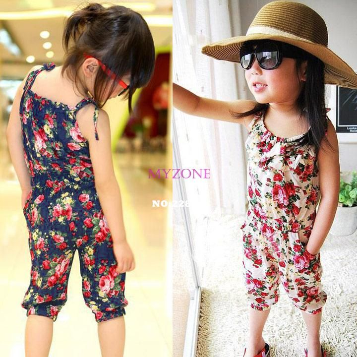 2014 New Children Jumpsuit/Girls Toddler Rompers/Short Playsuit/Kids Summer Floral Soft One piece Clothing White&Blue B2 16339-in Clothing S...