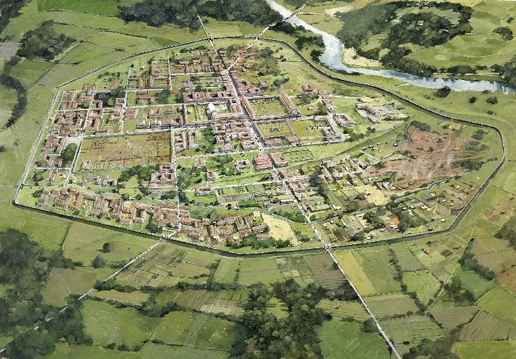 Wroxeter Roman City is an impressive Ancient Roman site in Shropshire. It houses the remains of what was once known as Viroconium, at one time Roman Britain's fourth largest city. In fact, Viroconium was initially a first Century garrisoned fort which evolved into a city. Image: artist's reconstruction.