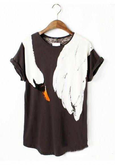 Black Animal Short Sleeve Loose Cotton Blend T-Shirt