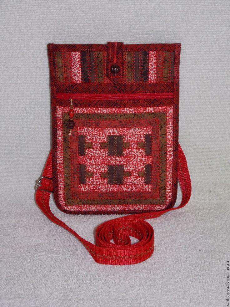 Купить Сумка-карман, лакомник, сумка на пояс, русский стиль, Красный, Эко - орнамент