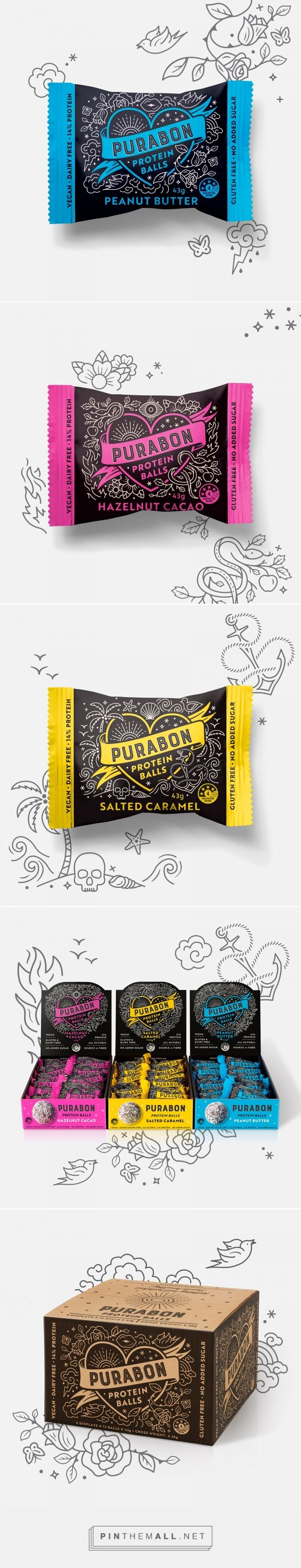 Purabon Protein Balls packaging design by Dessein - https://www.packagingoftheworld.com/2018/02/purabon-protein-balls.html