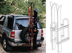 Just Rite SR100-B Ski and Snowboard Trailer Hitch Receiver Mounted Racks.