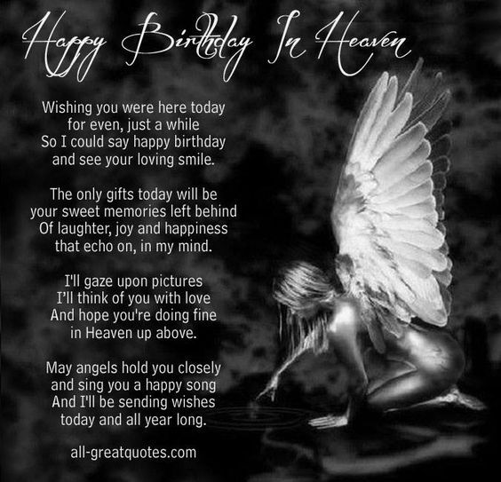 happy Birthday in Heaven:                                                                                                                                                                                 More