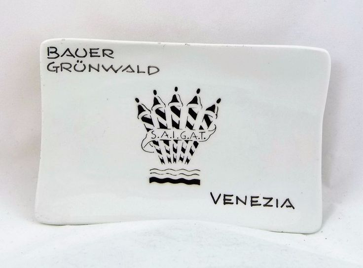 Vintage Bauer Grunwald Hotel Glass Ash Tray 5 Star Hotel Venezia Italy
