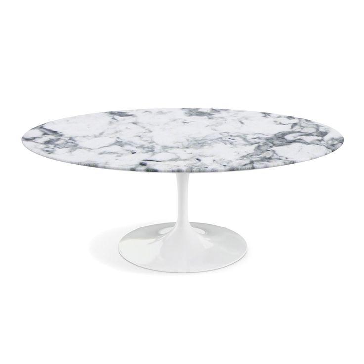 Saarinen ovalt sofabord med søylefot. Finnes også som spisebord og småbord.