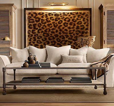 Cheetah print framed art in living room