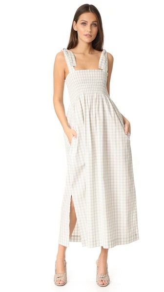 Ganni Palmer Check Smocked Maxi Dress | 15% off first app purchase with code: 15FORYOU