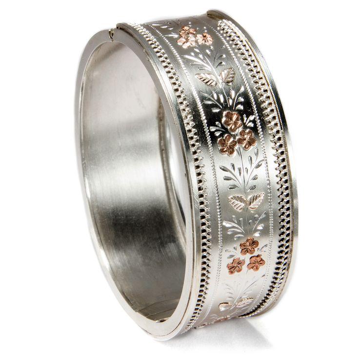Nice Gold und Silber lieb ich sehr Antiker Silberarmreif mit Goldauflagen u Gravuren