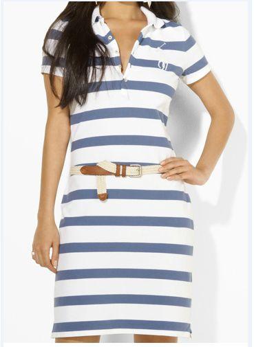ralph lauren outlet store online Ralph Lauren Women's Long Placket Striped Polo Dress Dark Blue / White W http:… | Polo dress. Ralph lauren ...