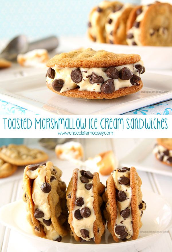 If you love classic Chipwiches, then you'll love this s'mores twist with Toasted Marshmallow Ice Cream Cookie Sandwiches. Get the recipe at www.chocolatemoosey.com @chocolatemoosey