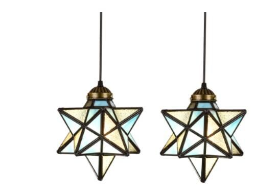 Tiffany creative Mediterranean industrial wind dining room simple living pendant light room dining room aisle Bar Glass DF45 #Affiliate