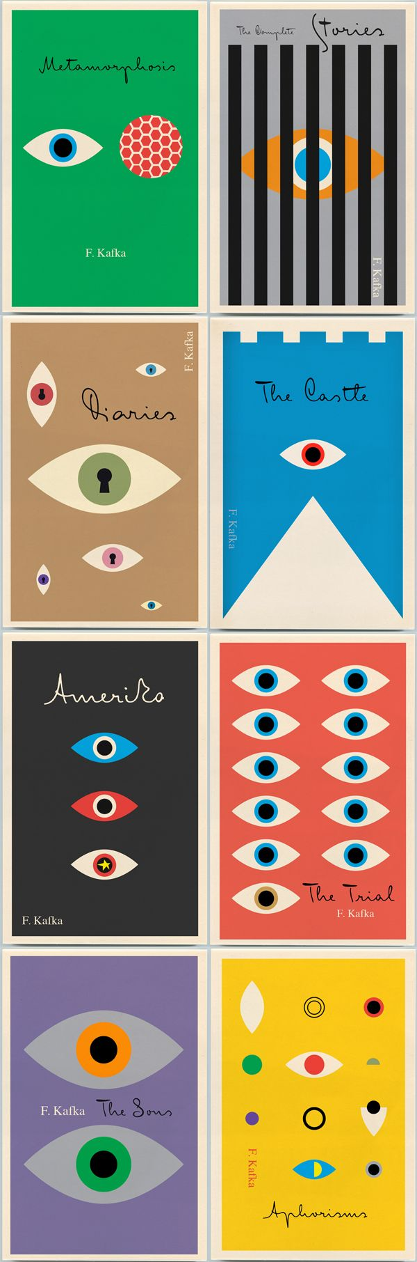 """Peter Mendelsund's Kafka backlist, which we first told you about here, published by Schocken Books, 2011."" via Flavorwire"