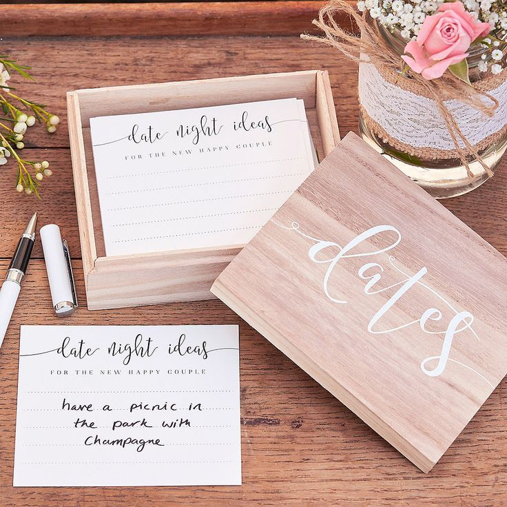Ginger Ray wooden box with date ideas, 51 pcs – Bridal Shower
