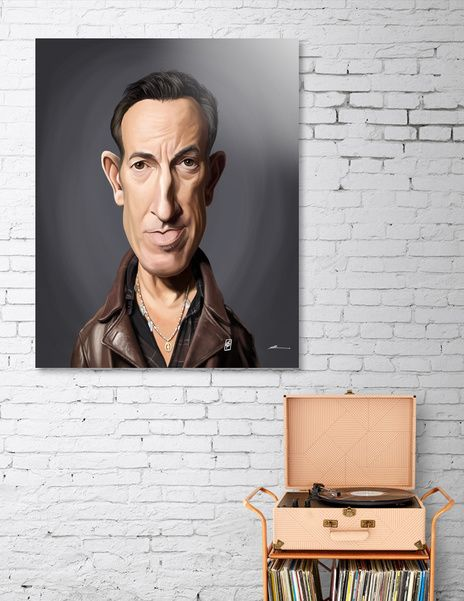 Discover «Bruce Springsteen», Numbered Edition Aluminum Print by rob art | illustration - From $59 - art | decor | wall art | inspiration | caricature | home decor | idea | humor | gifts