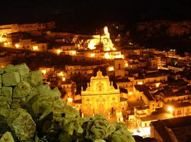 The Baroque town of Modica by night.