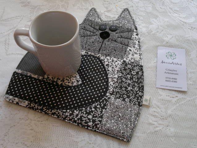 Mug Rug Gatinho Jpg 637 215 478 Cat Quilts Pinterest