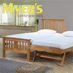 This solid wood guest bed is available in a choice of 2 colour options and comes complete with 2 x 3ft Single Myers Metro Mattresses in this great value package.  The Brent Guest Bed has the following features:  * Rubberwood hardwood frame * Guest bed on sprung loaded legs * Main bed and underbed come with a sprung slatted base * Attractive space-saving guest bed * Pull-out underbed * Sprung slatted base to give extra comfort