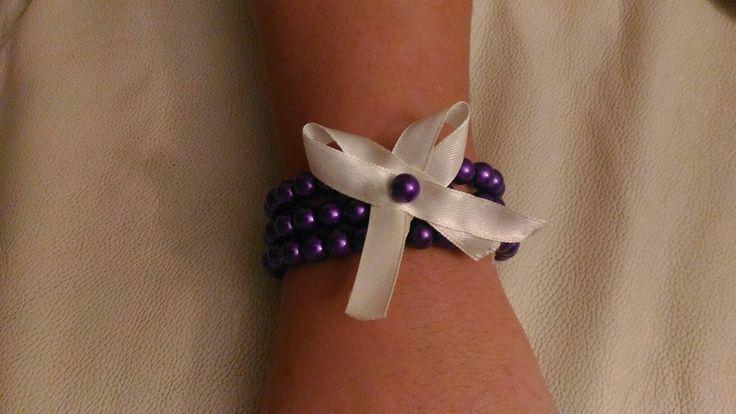 #bracciale #perle #viola #fiocco