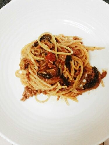 Spaghetti with Aubergine, Mushroom and Chilli Beef Bolognese sauce.