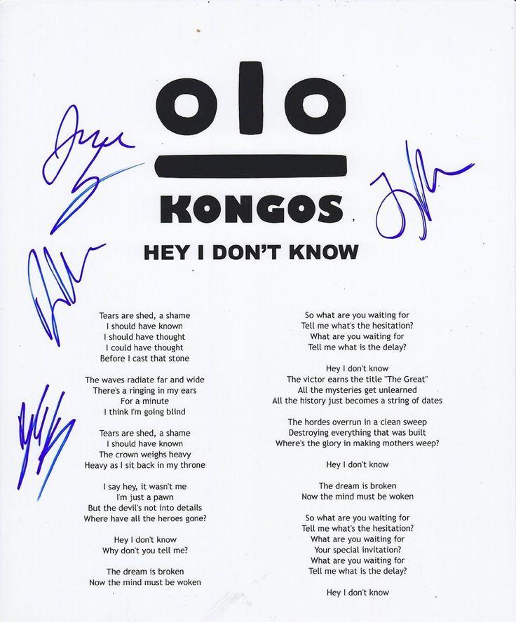 29 best lyric sheets images on pinterest lyrics music lyrics and kongos real autographed signed lyric sheet hey i dont know coa with stopboris Images