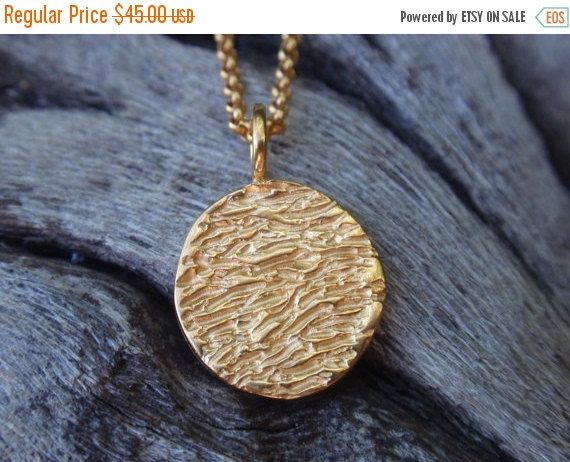 SALE 10% OFF gold full moon disc necklace 24k gold by preciousjd