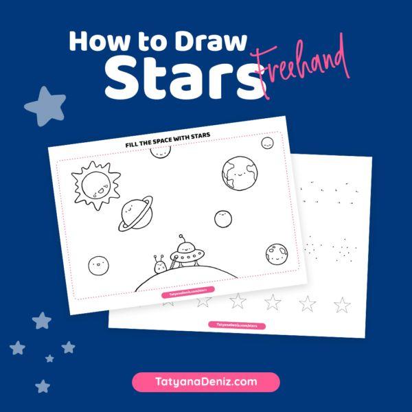 draw freehand drawing straight printable lines kawaii easy tatyanadeniz stars worksheets tatyana deniz drawings colouring dolls paper