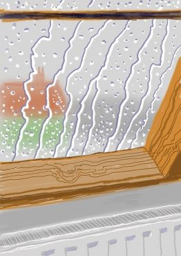 "'Rain on the Studio Window' 2009. 75 year old painter David Hockney paints via his iPad: ""I wipe my fingers at the end thinking I've got paint on them""."