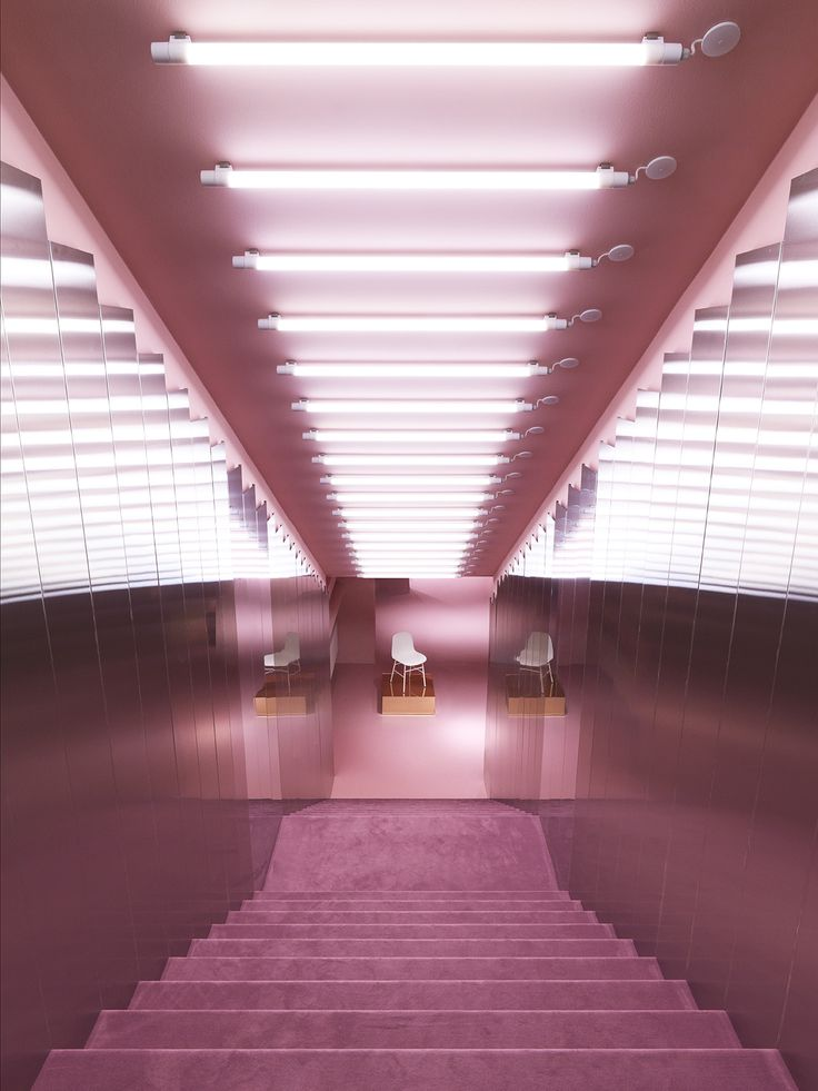 All is pink in the Gallery of the Normann Copenhagen showroom