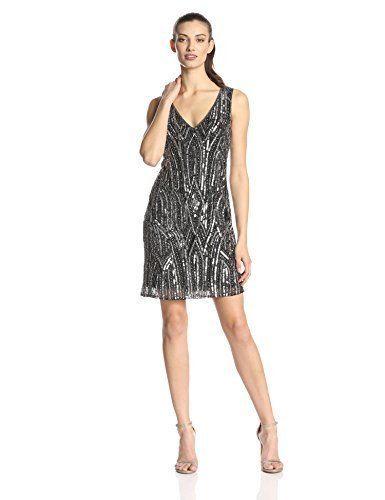 ce1dd4557f Adrianna Papell black gray 14 L sequin beaded vneck sheath dress ...