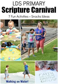 Fun Christian LDS Primary Scripture Carnival Game Ideas and snack ideas! Perfect for Outdoor Primary Activity for kids, nursery on up. David and Goliath. Jesus Walking on Water. Bow and Arrow. Fishers of Men. Planting Seeds. Archery. Bible and Book of Mormon Stories. Perfect for a Children's Ministry and VBS Vacation Bible School idea! #LIGHTtheWORLD