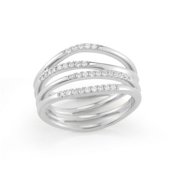 Sparkling with light-catching round white diamonds, this 4 row multi-band white gold ring is perfect for everyday wear. Designed in an organic shape, the natural movement and architectural interest make this ring a must-have luxurious accent. Impressive as a stand-alone piece, let the intricate design take center stage.