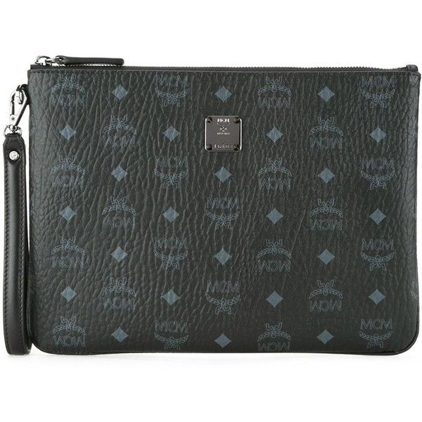 MCM Logo Print Zip Clutch ($446) ❤ liked on Polyvore featuring bags, handbags, clutches, black, zipper purse, mcm purse, mcm, mcm handbags and zip purse