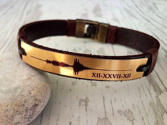 Men Leather BraceletRomen Numerals Bracelet Customized by tovvanda